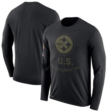Men's Nike Pittsburgh Steelers Black 2018 Salute to Service Sideline Performance Long Sleeve T-Shirt - Legend