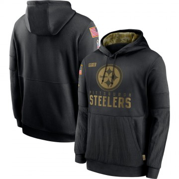 Men's Nike Pittsburgh Steelers Black 2020 Salute to Service Sideline Performance Pullover Hoodie -