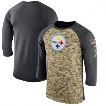 Men's Nike Pittsburgh Steelers Camo /Anthracite Salute to Service 2017 Sideline Performance Three-Quarter Sleeve T-Shirt - Legen