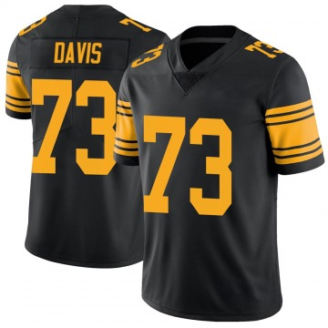 Men's Pittsburgh Steelers Carlos Davis Black Color Rush Jersey - Limited