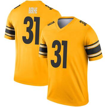 Men's Nike Pittsburgh Steelers Nat Berhe Gold Inverted Jersey - Legend