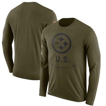 Men's Nike Pittsburgh Steelers Olive 2018 Salute to Service Sideline Performance Long Sleeve T-Shirt - Legend