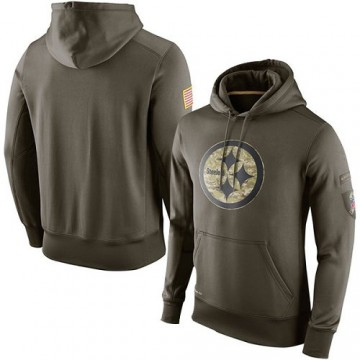 Men's Nike Pittsburgh Steelers Olive Salute To Service KO Performance Hoodie -