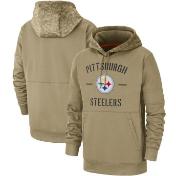 Men's Nike Pittsburgh Steelers Tan 2019 Salute to Service Sideline Therma Pullover Hoodie -