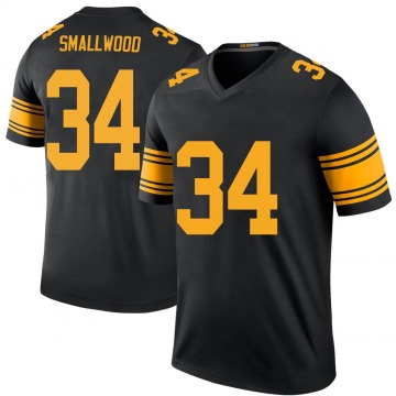 Men's Pittsburgh Steelers Wendell Smallwood Black Color Rush Jersey - Legend