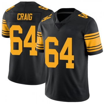 Men's Pittsburgh Steelers Winston Craig Black Color Rush Jersey - Limited