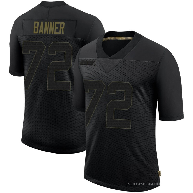 Men's Nike Pittsburgh Steelers Zach Banner Black 2020 Salute To Service Jersey - Limited