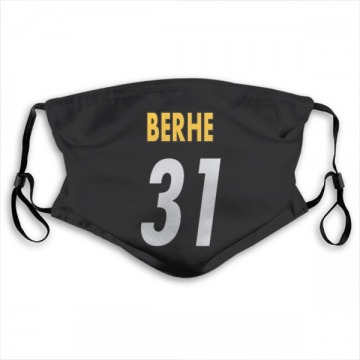 Pittsburgh Steelers Nat Berhe Black Jersey Name & Number Face Mask