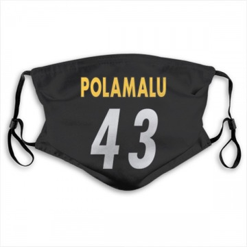 Pittsburgh Steelers Troy Polamalu Black Jersey Name & Number Face Mask