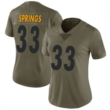 Women's Nike Pittsburgh Steelers Arrion Springs Green 2017 Salute to Service Jersey - Limited