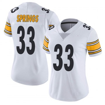 Women's Nike Pittsburgh Steelers Arrion Springs White Vapor Untouchable Jersey - Limited