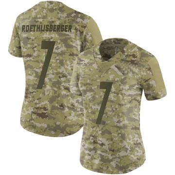 Women's Nike Pittsburgh Steelers Ben Roethlisberger Camo 2018 Salute to Service Jersey - Limited