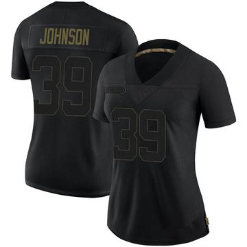 Women's Nike Pittsburgh Steelers Brandon Johnson Black 2020 Salute To Service Jersey - Limited