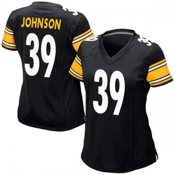 Women's Nike Pittsburgh Steelers Brandon Johnson Black Team Color Jersey - Game