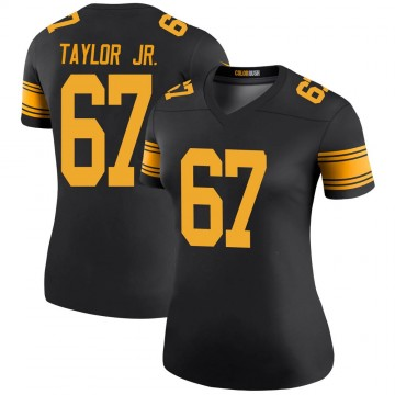 Women's Nike Pittsburgh Steelers Calvin Taylor Jr. Black Color Rush Jersey - Legend