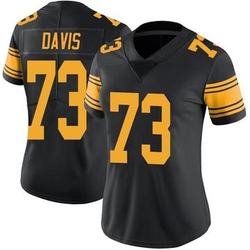 Women's Nike Pittsburgh Steelers Carlos Davis Black Color Rush Jersey - Limited