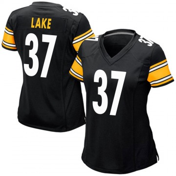 Women's Nike Pittsburgh Steelers Carnell Lake Black Team Color Jersey - Game