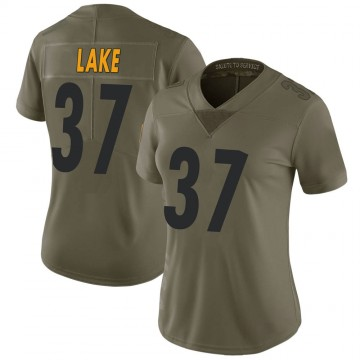 Women's Nike Pittsburgh Steelers Carnell Lake Green 2017 Salute to Service Jersey - Limited