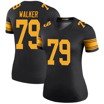 Women's Nike Pittsburgh Steelers Cavon Walker Black Color Rush Jersey - Legend