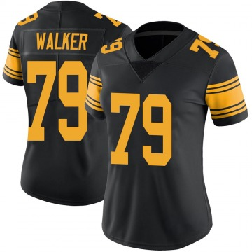 Women's Nike Pittsburgh Steelers Cavon Walker Black Color Rush Jersey - Limited