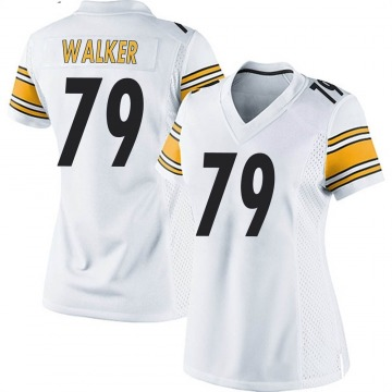 Women's Nike Pittsburgh Steelers Cavon Walker White Jersey - Game