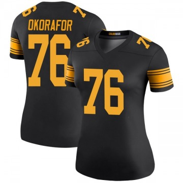Women's Nike Pittsburgh Steelers Chukwuma Okorafor Black Color Rush Jersey - Legend