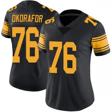 Women's Nike Pittsburgh Steelers Chukwuma Okorafor Black Color Rush Jersey - Limited