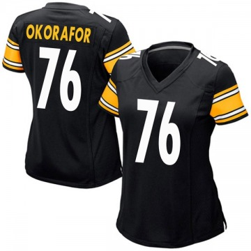 Women's Nike Pittsburgh Steelers Chukwuma Okorafor Black Team Color Jersey - Game