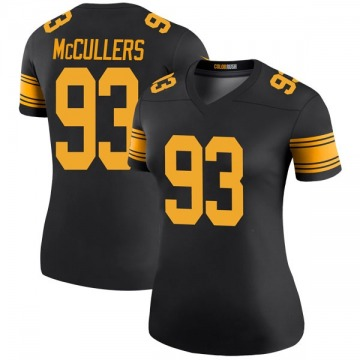 Women's Nike Pittsburgh Steelers Dan McCullers Black Color Rush Jersey - Legend