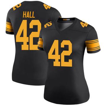 Women's Nike Pittsburgh Steelers Darrin Hall Black Color Rush Jersey - Legend