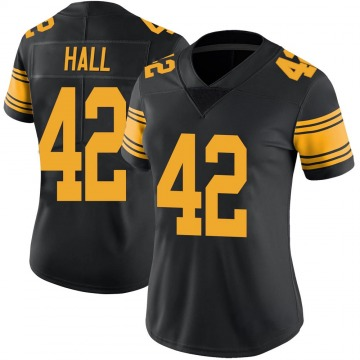 Women's Nike Pittsburgh Steelers Darrin Hall Black Color Rush Jersey - Limited