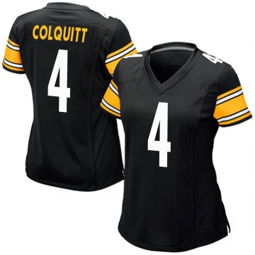 Women's Nike Pittsburgh Steelers Dustin Colquitt Black Team Color Jersey - Game