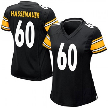 Women's Nike Pittsburgh Steelers J.C. Hassenauer Black Team Color Jersey - Game
