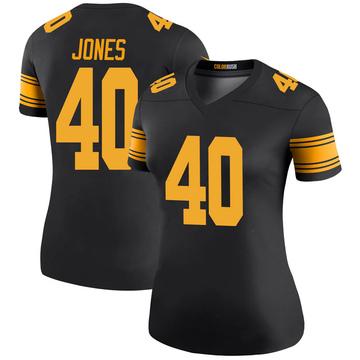 Women's Nike Pittsburgh Steelers J.T. Jones Black Color Rush Jersey - Legend