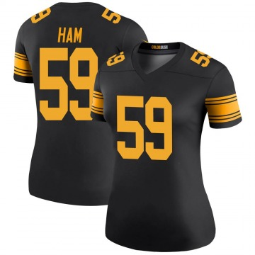 Women's Nike Pittsburgh Steelers Jack Ham Black Color Rush Jersey - Legend