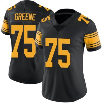 Women's Nike Pittsburgh Steelers Joe Greene Green Color Rush Black Jersey - Limited