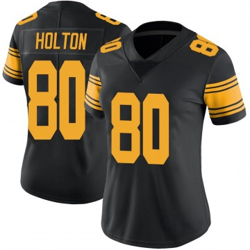 Women's Nike Pittsburgh Steelers Johnny Holton Black Color Rush Jersey - Limited