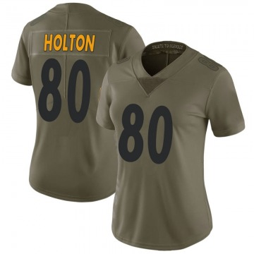 Women's Nike Pittsburgh Steelers Johnny Holton Green 2017 Salute to Service Jersey - Limited