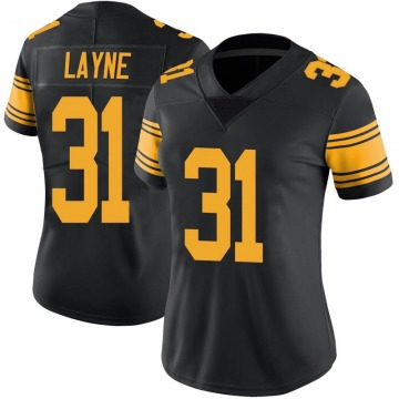 Women's Nike Pittsburgh Steelers Justin Layne Black Color Rush Jersey - Limited