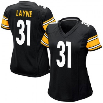 Women's Nike Pittsburgh Steelers Justin Layne Black Team Color Jersey - Game