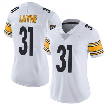 Women's Nike Pittsburgh Steelers Justin Layne White Vapor Untouchable Jersey - Limited