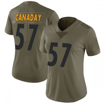 Women's Nike Pittsburgh Steelers Kameron Canaday Green 2017 Salute to Service Jersey - Limited