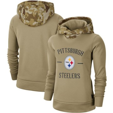 Women's Nike Pittsburgh Steelers Khaki 2019 Salute to Service Therma Pullover Hoodie -