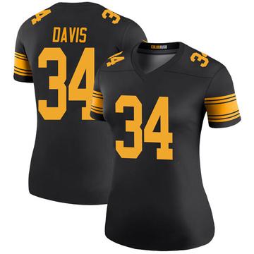 Women's Nike Pittsburgh Steelers Knile Davis Black Color Rush Jersey - Legend