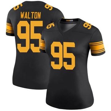 Women's Nike Pittsburgh Steelers L.T. Walton Black Color Rush Jersey - Legend