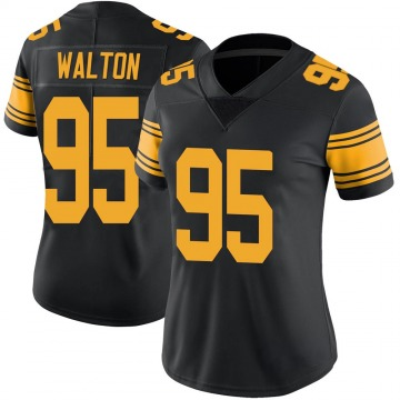 Women's Nike Pittsburgh Steelers L.T. Walton Black Color Rush Jersey - Limited