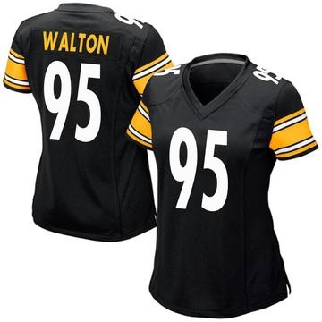 Women's Nike Pittsburgh Steelers L.T. Walton Black Team Color Jersey - Game
