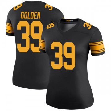Women's Nike Pittsburgh Steelers Malik Golden Gold Color Rush Black Jersey - Legend