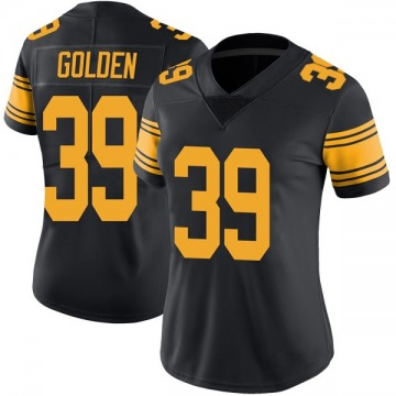 Women's Nike Pittsburgh Steelers Malik Golden Gold Color Rush Black Jersey - Limited