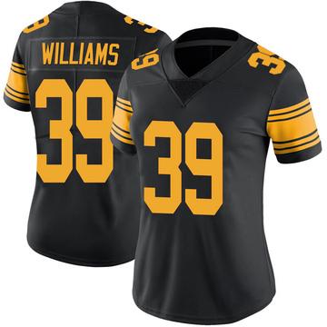 Women's Nike Pittsburgh Steelers Malik Williams Black Color Rush Jersey - Limited